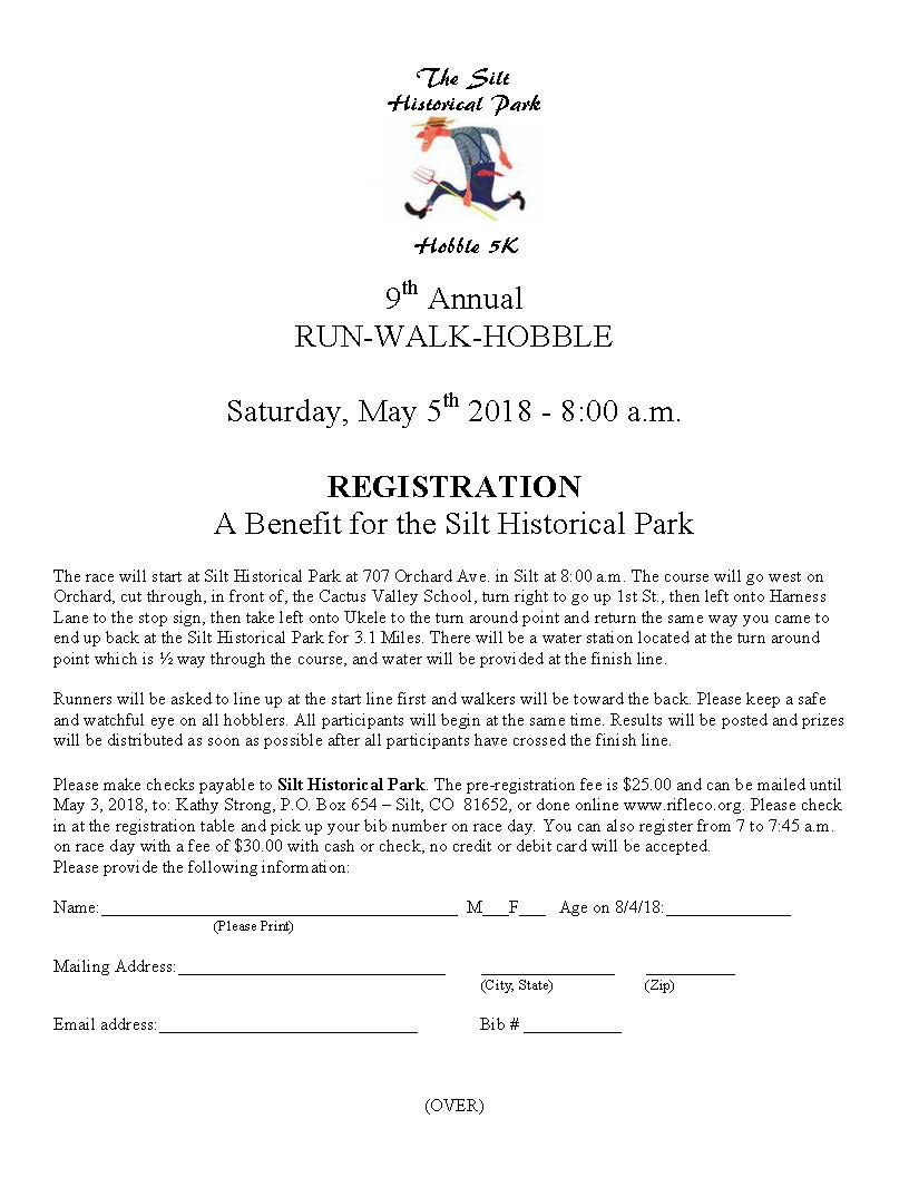 Silt Historical Park Hobble 2018 Registration Form_Page_1