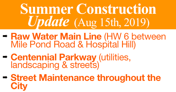 Summer Construction Update (Aug 15th, 2019)