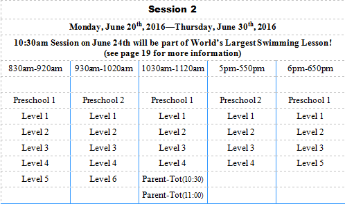Session 2 Lesson Table